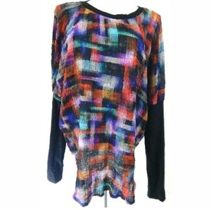 Sylvia Heise Multicolor Crinkle Textured Top